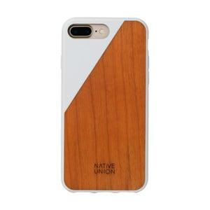 Biely obal na mobilný telefón s dreveným detailom pre iPhone 7 a 8 Plus Native Union Clic Wooden
