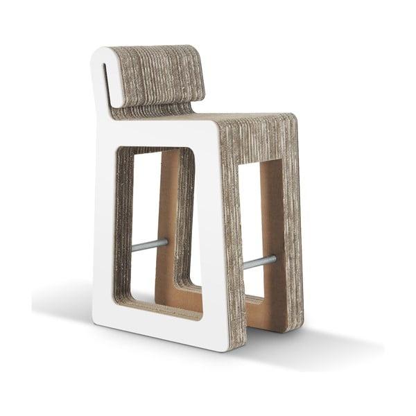 Barová kartónová stolička Hook Stool White