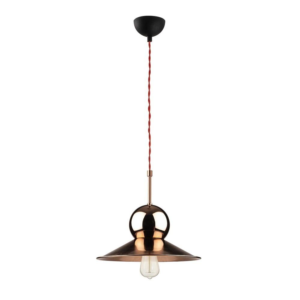 Čierne kovové závesné svietidlo v medenej farbe Opviq lights Stathis