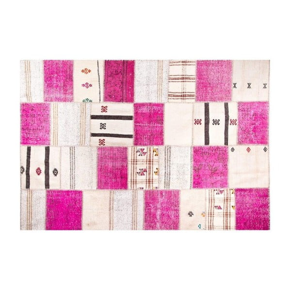 Vlnený koberec Allmode Kilim Pink, 150x80 cm