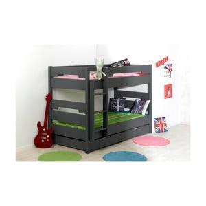 Detská čierna dvojposchodová posteľ prestaviteľná na jednolôžko JUNIOR Provence Milo, 90 x 190 cm