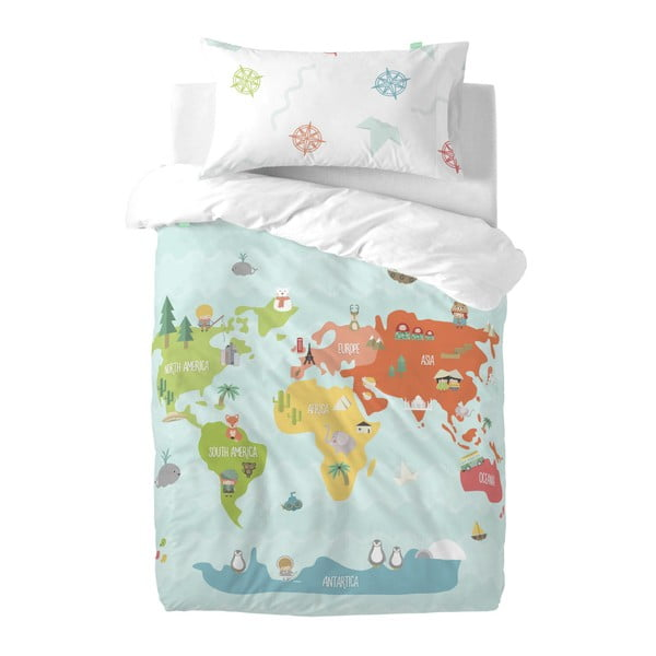 Detské obliečky z čistej bavlny Happynois World Map, 100×120 cm