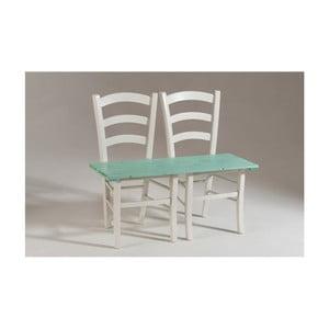 Bielo-zelená drevená lavica pre dvoch Castagnetti Fir