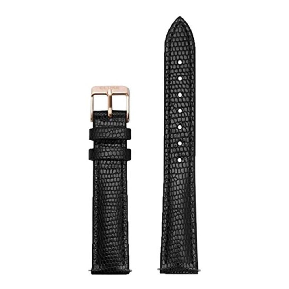 Čierny kožený remienok s detailmi vo farbe ružového zlata k hodinkám Cluse Minuit Lizard