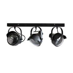 Čierne kovové stropné svietidlo s 3 svietidlami WOOOD Lester