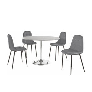 Sada okrúhleho jedálenského stola a 4 sivých stoličiek Støraa Terri Concrete
