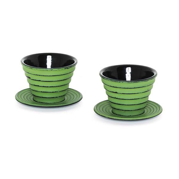 Set 2 šálok s tanierikmi Fade Japan Tea Green