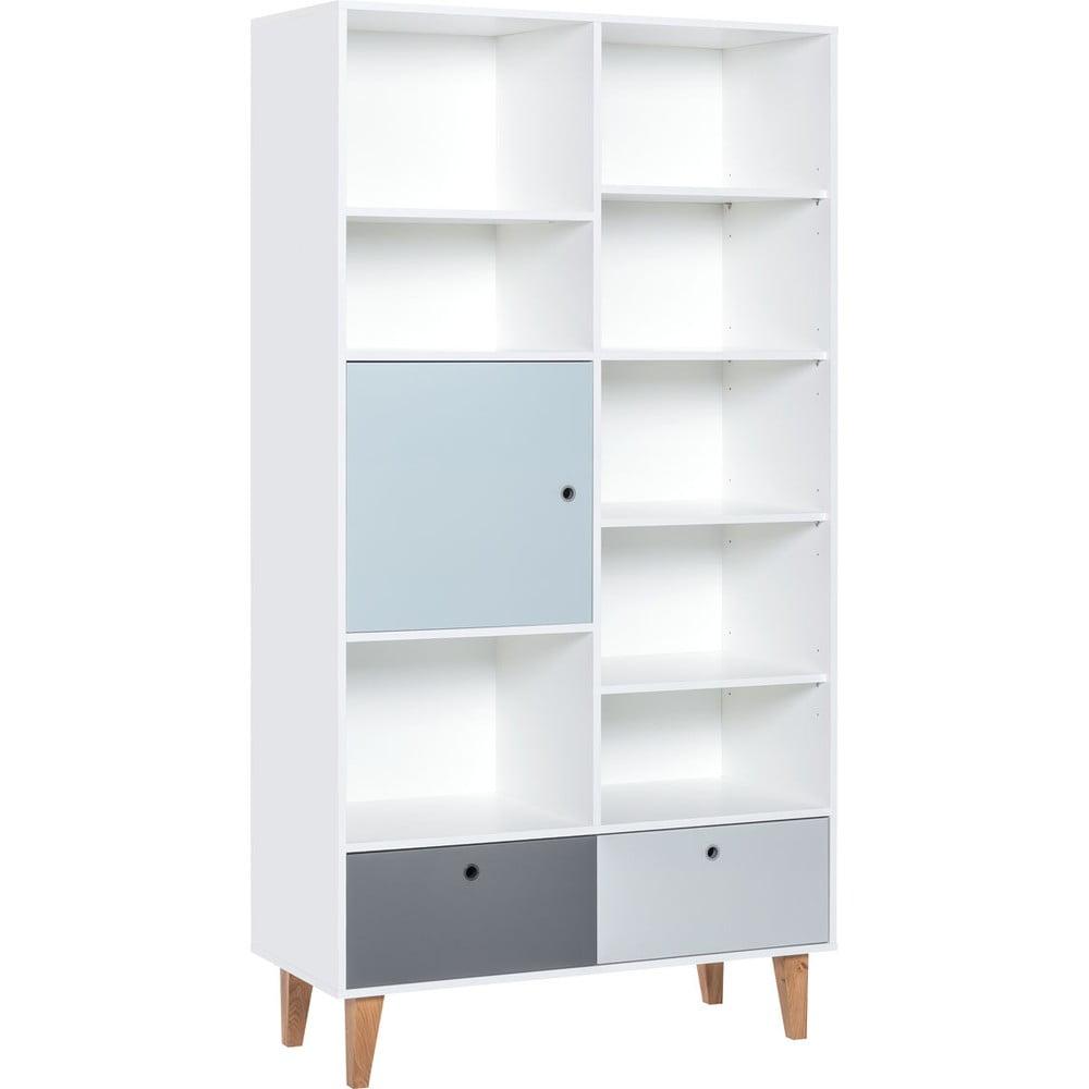 Knižnica s modrými dvierkami z dubového dreva Vox Concept, 105 x 201,5 cm