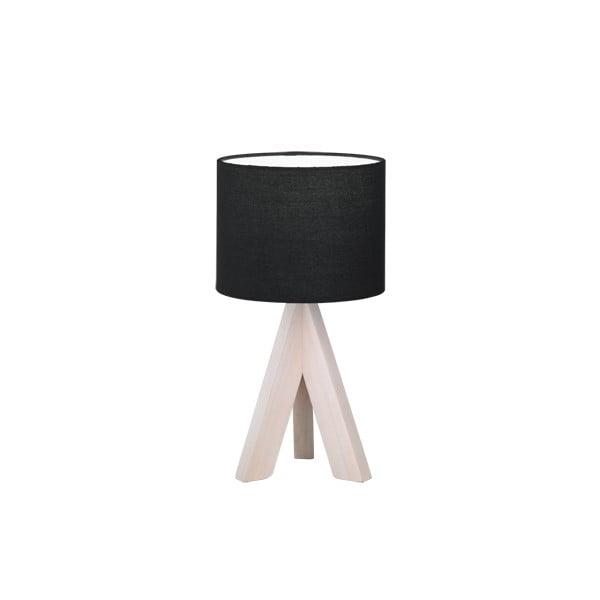 Čierna stolová lampa z prírodného dreva a tkaniny Trio Ging, výška 31 cm