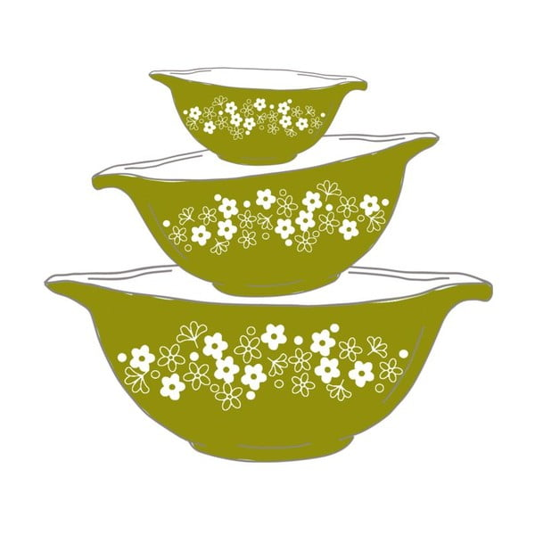 Plagát v drevenom ráme Green bowls, 38x28 cm