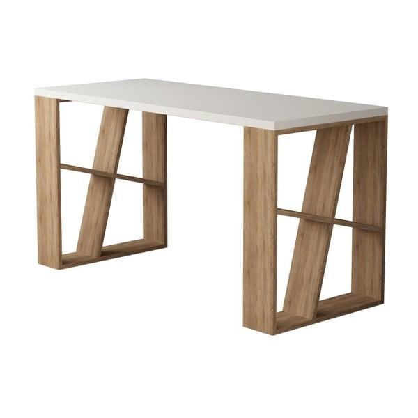 Pracovný stôl v svetlom dekore dubového dreva s bielou doskou Honey