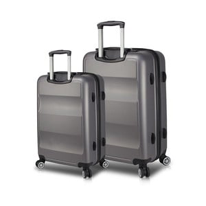 Sada 2 sivých cestovných kufrov na kolieskach s USB porty My Valice LASSO Large & Medium