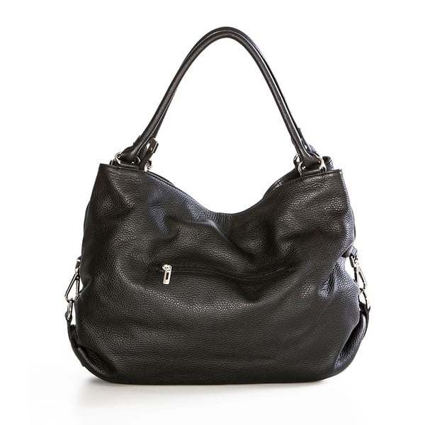 Čierna kožená kabelka Federica Bassi Sirina
