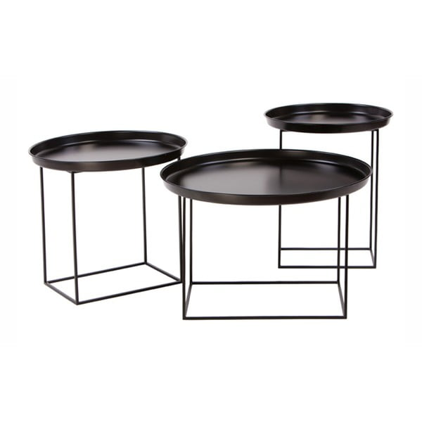 Sada 3 čiernych kovových konferenčných stolíkov Nørdifra Ramme