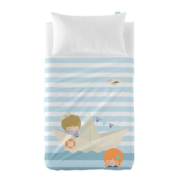 Set plachty a obliečky na vankúš z čistej bavlny Happynois Sailor, 100×130 cm