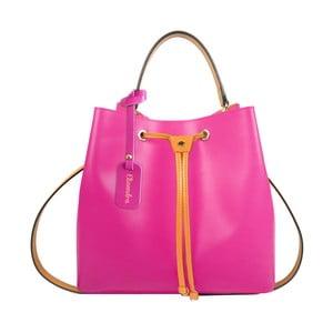 Fuksiová kožená kabelka so žltým detailom Maison Bag Lexy