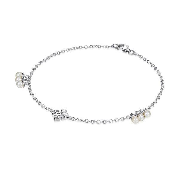Strieborný náramok s perlami a príveskom Chakra Pearls Done, 19 cm