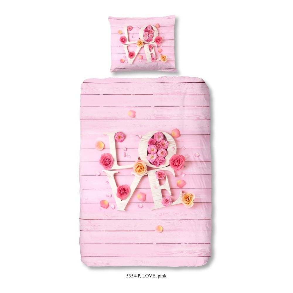 Detské posteľné obliečky z čistej bavlny Good Morning Pinkie Love, 140 × 200 cm