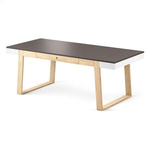 Jedálenský stôl z dubového dreva so sivými detailmi Absynth Magh, 198x100cm