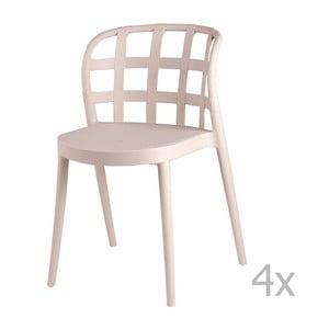Sada 4 béžových jedálenských stoličiek sømcasa Gina
