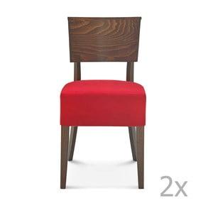 Sada 2 drevených stoličiek s červeným čalúnením Fameg Else