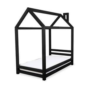 Dětská černá postel z borovicového dřeva Benlemi Happy,90x200cm