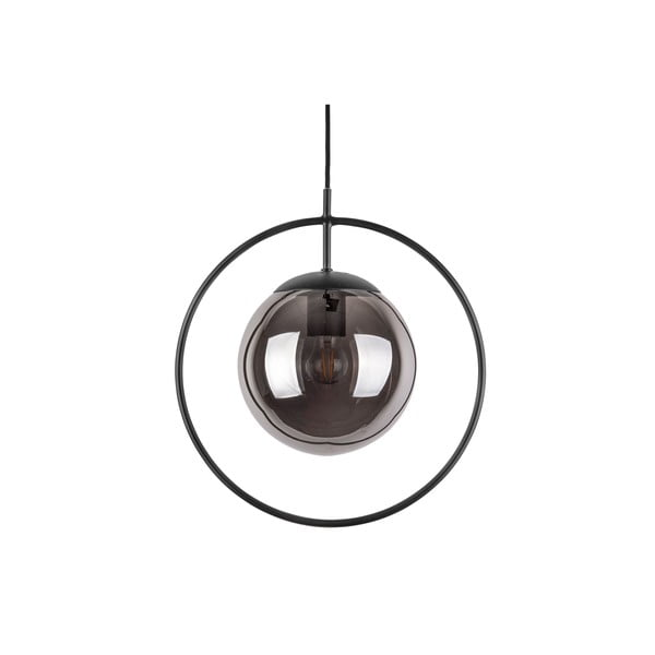 Sivo-čierne závesné svietidlo Leitmotiv Round, výška 38 cm