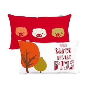 Obojstranná bavlnená obliečka na vankúš Mr. Fox Little Pigs, 50 x 30 cm