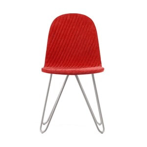 Červená stolička s kovovými nohami IKER Mannequin X Stripe