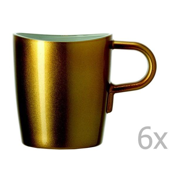 Sada 6 zlatých metalických hrnčekov na kávu LEONARDO Loop, 260 ml
