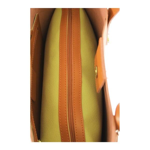 Koňakovohnedá kožená kabelka Chicca Borse City