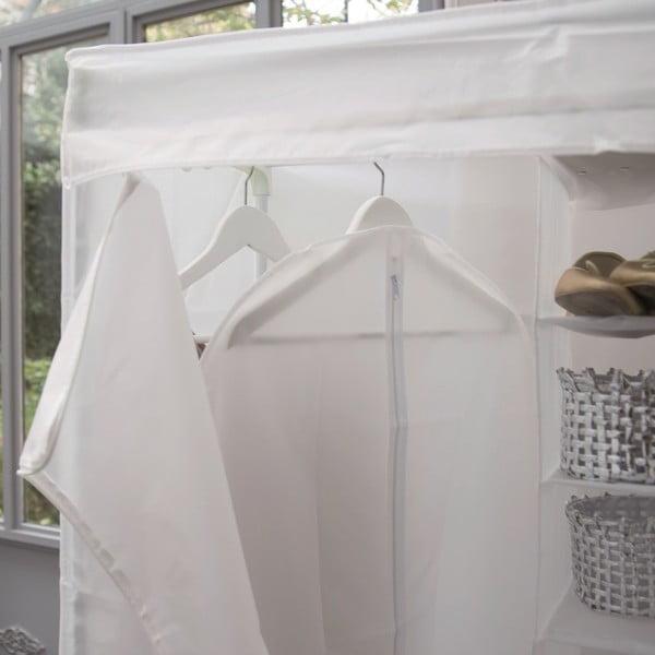 Biela šatníková textilná skriňa Compactor Milky, 160 x 75 cm