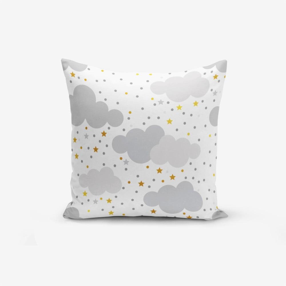 Obliečka na vankúš s prímesou bavlny Minimalist Cushion Covers Grey Clouds With Points Stars, 45 × 45 cm