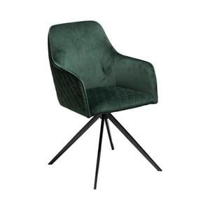 Tmavozelená jedálenská stolička s opierkami DAN–FORM Denmark Twine Velvet