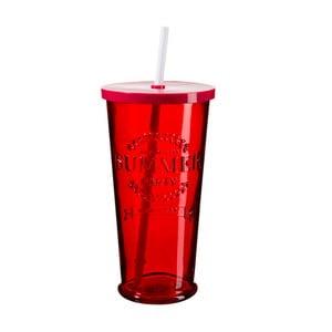 Sada 4 červených pohárikov s viečkom a slamkou SUMMER FUN II, 650ml