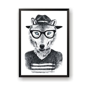 Plagát Nord & Co Hipster Wolf, 21 x 29 cm