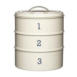 """Krémová sada troch plechových dóz Kitchen Craft """"123"""""""