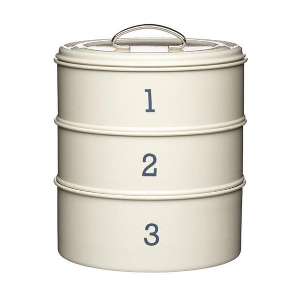 """Krémová sada 3 plechových dóz Kitchen Craft """"123"""""""