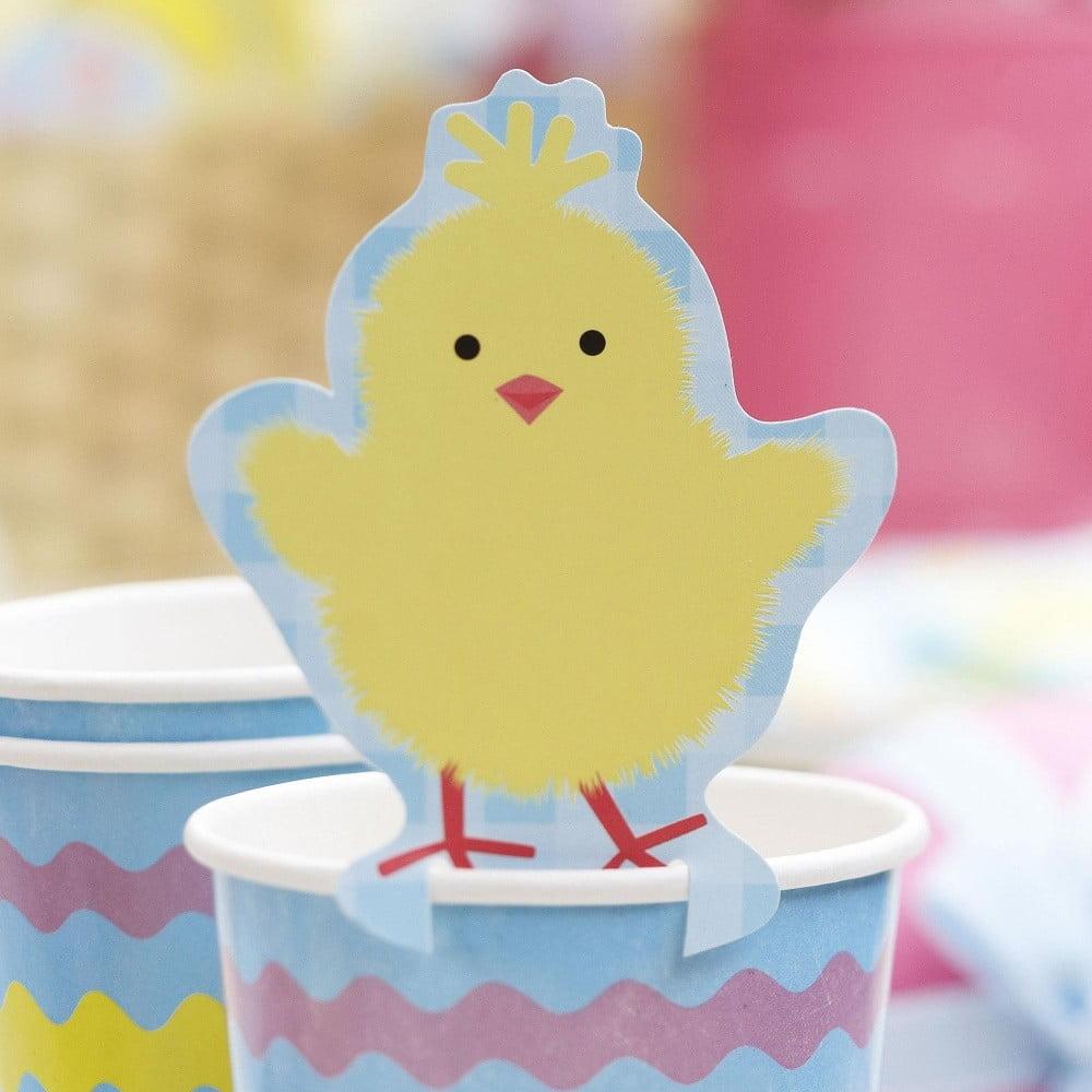 Sada 10 papierových dekorácií na poháre Neviti Easter Chick