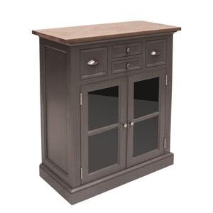 Sivá presklenená komoda Canett Royal Closet, 4 zásuvky