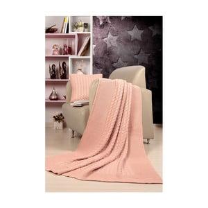 Set svetloružového plédu a vankúša Kate Louise Tricot Blanket Set Sultan