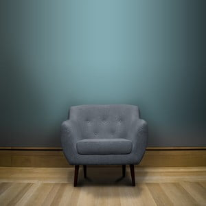 Svetlomodré kreslo Mazzini Sofas Piemont, hnedé nohy