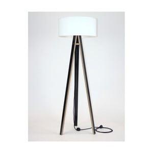 Čierna stojacia lampa s bielym tienidloma čiernym káblom Ragaba Wanda
