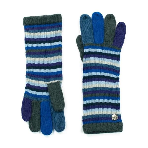 Modré pruhované rukavice Bella