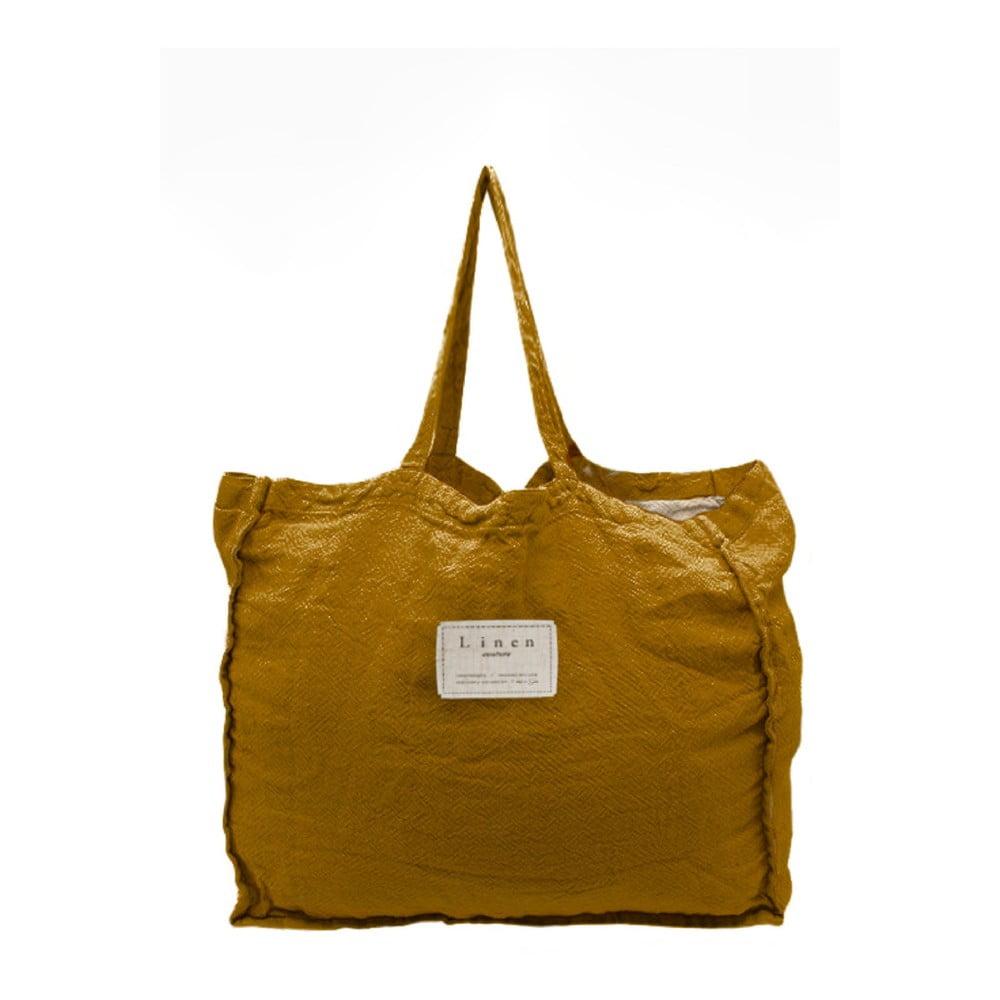 Látková taška Linen Couture Mustard, šírka 50 cm