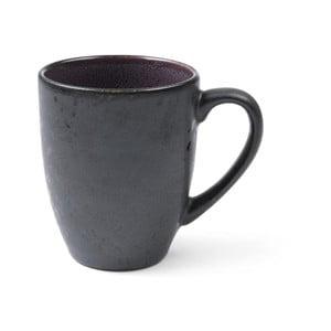 Čierny kameninový hrnček s uškom s vnútornou glazúrou vo fialovej farbe Bitz Mensa, 300 ml