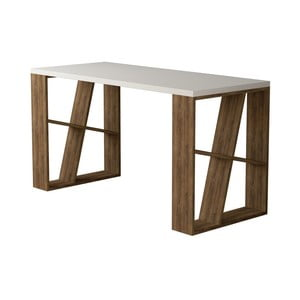 Pracovný stôl v dekore dubového dreva s bielou doskou Honey