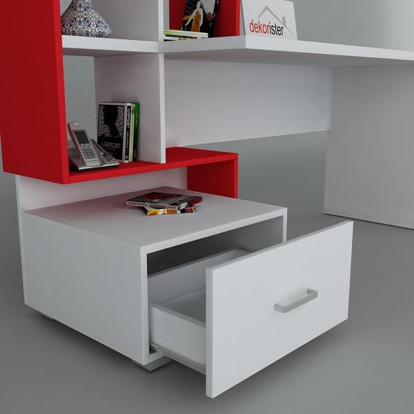 Pracovný stôl Bloom White/Red, 60x120x73,8 cm