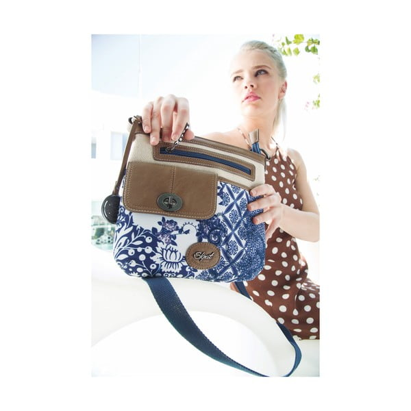 Béžovo-modrá kabelka SKPA-T, 25 x 26 cm