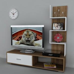 Televízna stena Akay Walnut/White, 39x160x160 cm